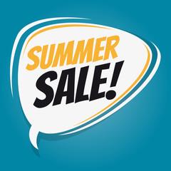 summer sale retro speech balloon