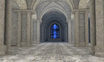 3d render of gothic hall interior with an open door at the end