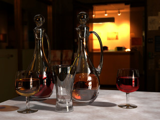 3d render of a still life with two crystal decanters and wine glasses