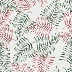 Seamless pattern wallpaper of exotic tropical palm leaves. Vector illustration on gray background