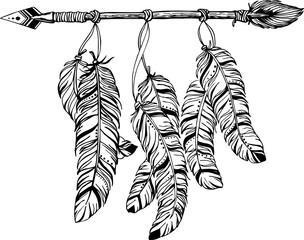 Ethnic arrows, feathers. Boho style.