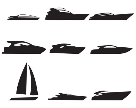 Yacht, boat icons