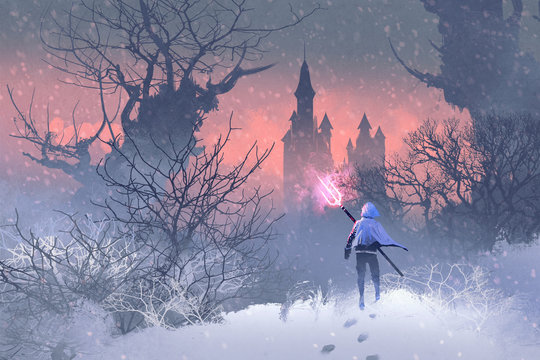 knight with trident in winter landscape,illustration painting