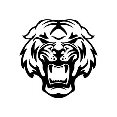 Monochrome angry tiger icon isolated on white background.  Desig