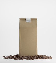 Beige pack of coffee against white background