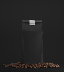 Black pack of coffee against black background