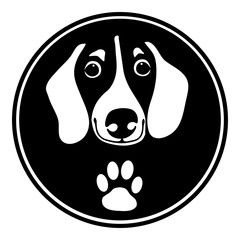 Black and white dachshund dog icon isolated on transparent background. Vector eps illustration
