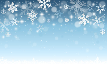 Blue winter background with falling snowflakes and snow