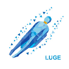 Winter sports - luge (sledging). Cartoon sportsman in blue sledding. Flat style vector clip art isolated on white background