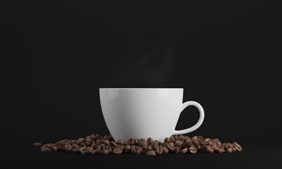 White cup of coffee against black background