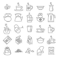 Thin line Tea vector icon set.
