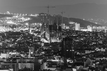 Cityscape of Barcelona, Spain at night in black and white