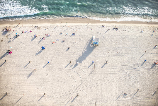 Santa Monica beach, view from helicopter