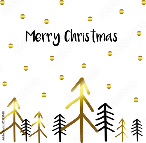 Merry christmas card with modern gold and black christmas for Modern gold christmas tree
