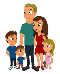 Illustration of a family of five members, father, mother, two sons and a daughter with a teddy bear, isolated on a white background