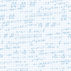 Seamless pattern on the theme of the subject of mathematics, formulas theorems on the notebook sheet in a cage
