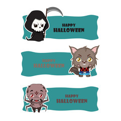 Cute Halloween monster banners - reaper, werewolf, spider