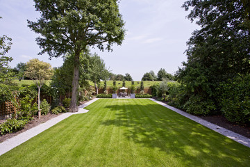 massive garden with perfectly trimmed lawn