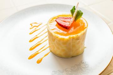 Joconde Imprime Mango and Passion fruit Mousse Cake