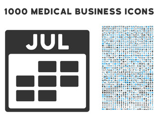 Blue And Gray July Calendar Grid vector icon with 1000 medical business pictograms. Set style is flat bicolor symbols, blue and gray colors, white background.