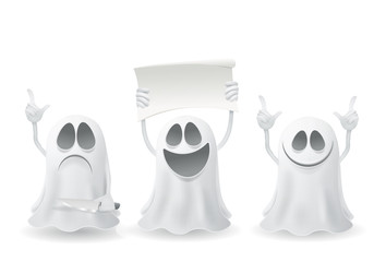 Set of funny halloween ghosts.