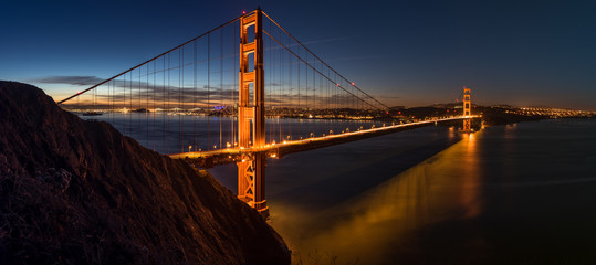 Golden Gate Bridge at sunrise- pano