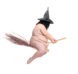 Funny obese witch flying on her magic broomstick. Crazy Halloween concept.