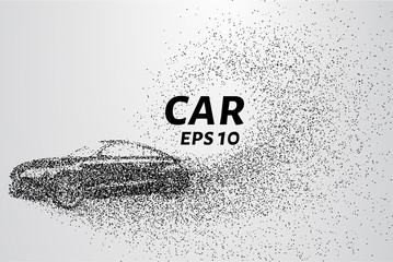 Car divergent composition of the particles. Cars consists of small circles carried by the wind. Vector illustration