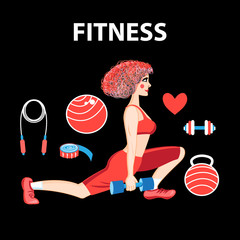 Vector girl engaged in fitness