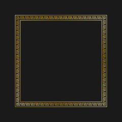 Greek style ornamental decorative frame pattern isolated. Greek Ornament. Vector antique frame pack. Decoration element patterns in black and gold colors. Ethnic collections. Vector illustrations.