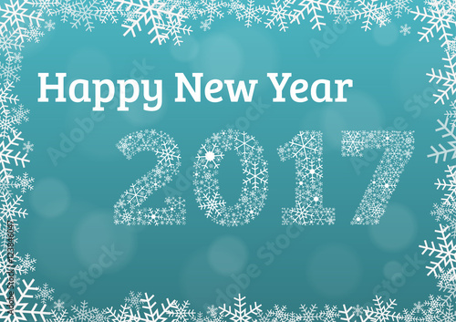 Happy New Year 2017 Light Blue Card Card With Snowflake Frame And Year 2017  Made Of