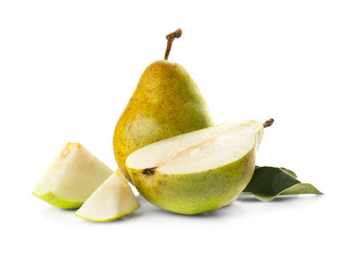 Yellow pear with slices on white background
