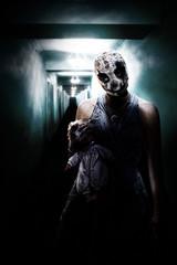 children in Halloween horror house