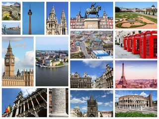 Europe travel photo collage