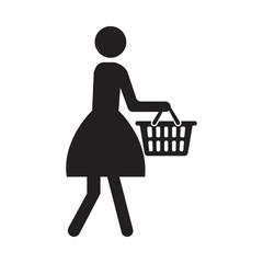 Women Shopping. Vector Icon Symbol