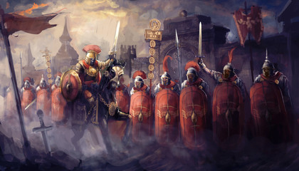 Roman soldiers and their general
