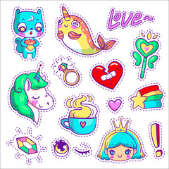 Neon vector patch badges with animals, characters and things. Hand-drawn stickers, pins in cartoon 80s-90s comics style. Set with cute unicorn, narwhal, squirrel, princess, magic wand, etc.