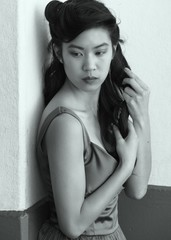 Black and White Asian Woman