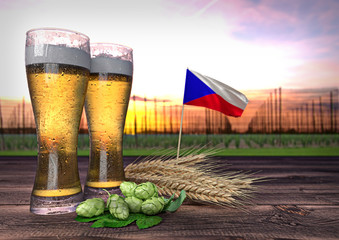 beer consumption in Czech republic. 3D render