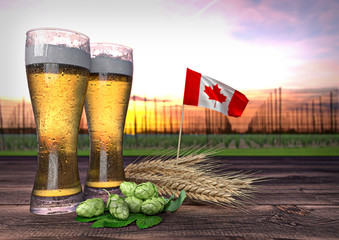 beer consumption in Canada. 3D render
