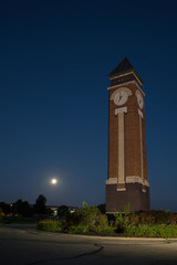 Clock Tower with Moon Setting