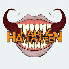 """A hand drawn style vector illustration of a sinister grin holding the text """"Happy Halloween"""" between its long, sharp teeth."""