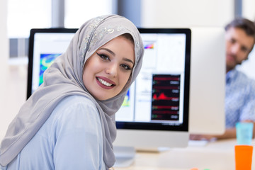 Young Arabic business woman wearing hijab,working in her startup
