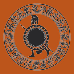 Symbol with the Greek soldier. Silhouette of the Spartan soldier
