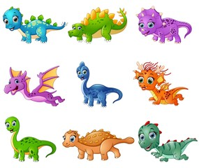 Set of cartoon dinosaurs collections