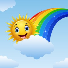 Smiling  sun character near the rainbow and clouds