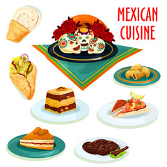 Mexican cuisine desserts and snacks isolated icons