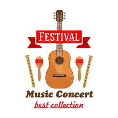Music concert badge with musical instruments