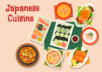 Japanese cuisine icon for seafood menu design