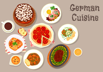 German cuisine meat dishes with desserts icon